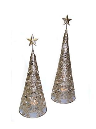 Portavelas Árbol Navidad Pequeño Oro