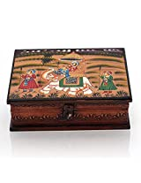 Shree Sai Handicrafts Wooden Hand Painted Dhola Maru Jewellery Box (17.78 cm x 6.35 cm x 21.59 cm, orange)