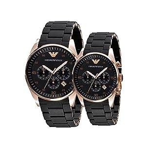 Emporio Armani AR5906 & AR 5905 Couple Black Dial Watch