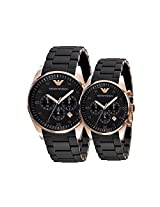 Emporio Armani AR5906 & AR 5905 Couple Black Dial Watch