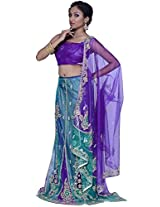 Amethyst Violet Net Embroidered Party and Festival Lehenga Style Saree