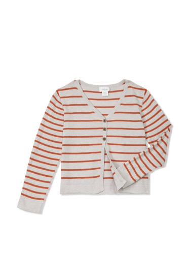 Neige Girl's Sylvie Stripe Cardigan (Oatmeal/Rust)