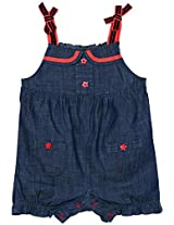 Infant Girls Dress Style Dungaree, Denim Blue, 0-3 Months