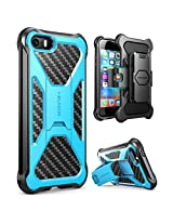 iPhone SE Case, i-Blason Prime [Kickstand] **Heavy Duty** [Dual Layer] Combo Holster Cover case with [Locking Belt Swivel Clip] for Apple iPhone SE 2016 Release (Blue)