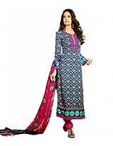 Styleliner Women Blended Dress Material (My-M6-04 _Blue)