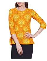 Cotton Printed Kurti Indian Casual Dresses For Women ,W-CPK46-1816,Size-46 Inch,YELLOW