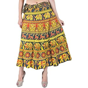 Dark-Green and Yellow Wrap-On Skirt with Printed Elephants and Deers - Pure Cotton