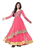Suchi Fashion Embroidered Peach Net Semi Stitched Party Wear Suit