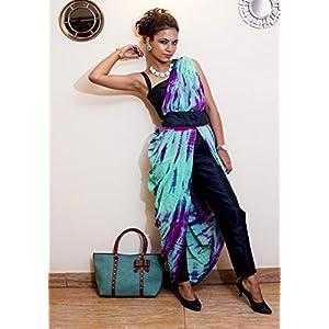 Khwaab Peacock Blue & Multicolour Saree Gown