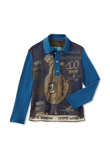 Custo Barcelona Boy's Character Long Sleeve Polo Shirt (Multi)