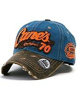 ililily Distressed Vintage Cotton embroidered Baseball Cap Snapback Trucker Hat Blue AD