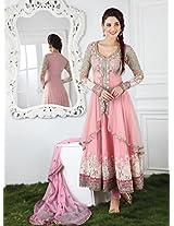 Soft Pink Jacket Style Anarkali Salwar Kameez