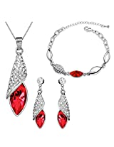 Eterno Crystal Pendant Set For Women (Red)