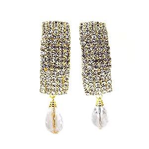 American Diamond/CZ Pearl Look Gold Plated Earrings For Women