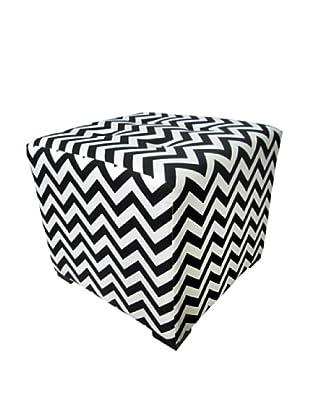 Sole Designs Merton ZZ Button-Tufted Square Ottoman, Black/White