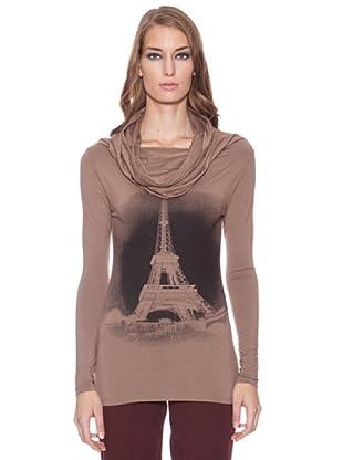 Isabel de Pedro Camiseta Cuello Chimenea T.Eiffel (Beige)