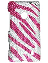 Aimo NK521PCLDI686 Dazzling Diamond Bling Case for Nokia Lumia 521 - Retail Packaging - Zebra Hot Pink with White