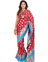 Exotic India Sangria-Red Banarasi Jamawar Saree with Hand-woven Leaves an - Pink