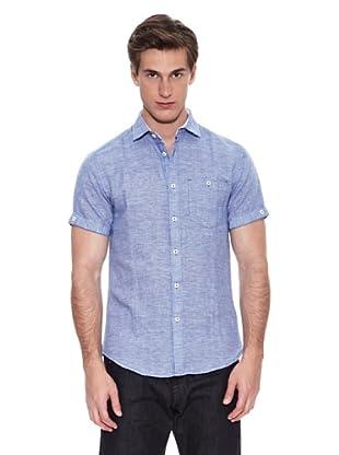 Springfield Camisa Camisa Verano Ba Pata De Galllo Lino (Azul)