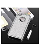 Sliver Chrome Glitter Bling Crystal Rhinestone Hard Case Cover for Apple AT&T Sprint Verizon iPhone 4 4S 4G With Free 2 pcs Screen Protective Film and Sliver Stylus