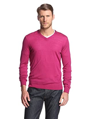 Façonnable Men's V-Neck Merino Sweater (Cranberry)