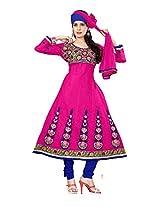 Khushali Women's cotton Unstitched Anarkali Salwar Suit (RANI)