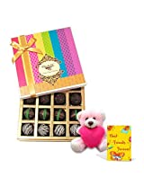 Friendship's Day Treat With Teddy And Card - Chocholik Belgium Chocolates