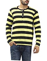 Leana Men's Button Front T-Shirt (SR19_Black Yellow_L)