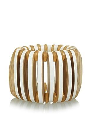MARNI Women's Diamond White Wooden Stretch Bracelet