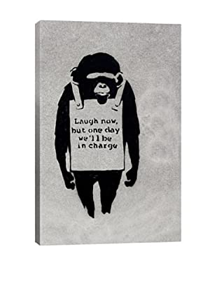 Banksy Laugh Now, Sandwich Board-Wearing Monkey Ultrachrome Canvas Print