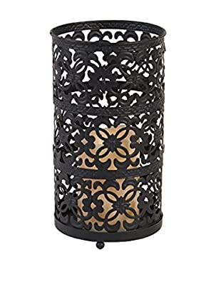 Short Filigree Lantern with LED Light, Espresso