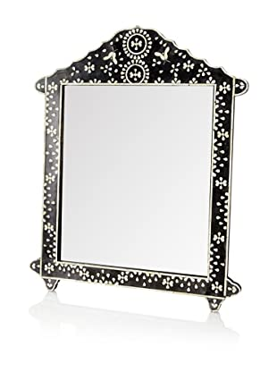 Mili Designs Butterfly Design Bone Inlay Crown Mirror, Black/White