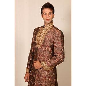 Trendy Highneck Brown Sherwani