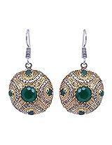 Gehna Emerald Gemstone Studded Round Dangle & Drop Earrings for Women