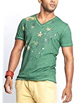 Masculino Latino Casual Green T-shirts V-Neck for Men MLT3002C-L