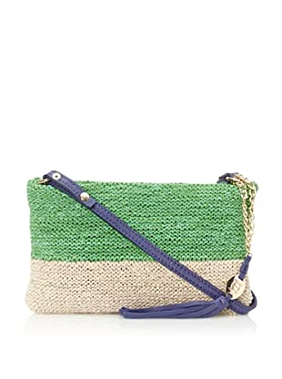 OH by Joy Gryson Women's Colombier Knit Leather Clutch (Buttercream/Grass)