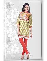 Cotton Cream Stitched Floral Print Kurti - 12-4685KT324001 - 36