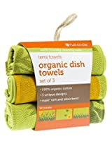 Full Circle Terra Towels Organic Cotton Dish Towel, Set of 3, Green