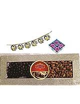Skylofts 250gms American giri Almond, 250gms Chocolate Coated Nut Butterscotch Diwali combo with 4pc diya set & a bandanwaar