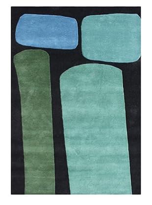 Alliyah Rugs New Zealand Wool Rug (Black/Aqua/Blue/Green)