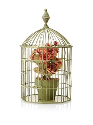 Faux Rose Topiary Conservatory, Green/Dusty Rose