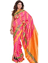 Exotic India Honeysuckle-Pink Saree from Bangalore with Self Weave and Wo - Pink