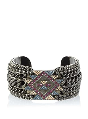 Joanna Laura Constantine Gunmetal Aztec Chain Encrusted Cuff