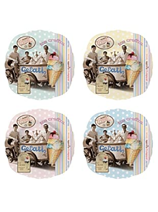 Easy Life Design Set 4 Piatti Dessert in Porcellana Ice Cream Ø 20 cm
