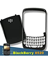 BLACKBERRY CURVE 8520 8530 OEM BLACK FACE FRONT FACEPLATE+BATTERY BACK HOUSING COVER