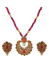 Ganapathy Gems Pink Jade With Chand Bali Pendant And 1 Gram Gold Plating Necklace Set for Women