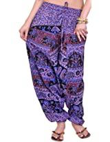Exotic India Printed Harem Trousers from Pilkhuwa - Color Dahlia PurpleGarment Size Free Size