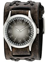 Nemesis Men's 217VDXB-K Black Gradient Pointium Series Faded Black Double X Leather Cuff Band Analog Display Japanese Quartz Black Watch