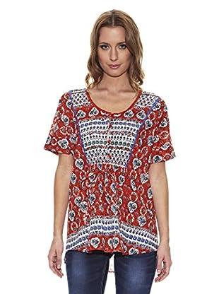 Peace & Love Blusa Cuello Redondo Fantasía (Rojo)