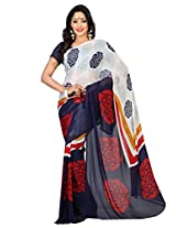 Admyrin Navy Blue and Off-white Printed Saree with Navy Blue Blouse